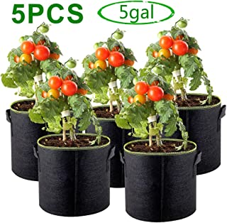 TERSELY 5Gallon / 20L Plant Grow Bag Fabric Pots, 5 Pieces Indoor Garden Planter Bags for Vegetable Potato Growing, Premium Breathable Natural Reinforced Non-Woven Material