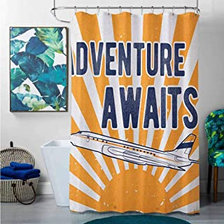 Shower Curtains Elegant Adventure,Commercial Airplane with Rising Sun Adventure Quote Aviation Journey Print, Navy Blue Orange,W60 x L72 Halloween Shower Curtain Hooks