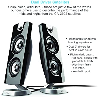 Cyber Acoustics CA-3602FFP 2.1 Speaker Sound System with Subwoofer and Control Pod - Great for Music, Movies, Multime...