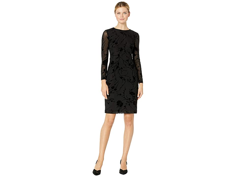 LAUREN Ralph Lauren 168C Floral Vine Mesh Barnelle Long Sleeve Day Dress (Black) Women