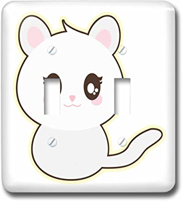 3D Rose LSP/_239494/_2 Cute Kawaii White Cat Kitty Kitten Double Toggle Switch