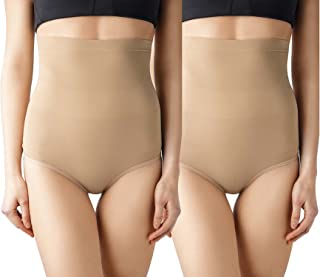 MD Women's 2 Pack Seamless Shapewear High-Waisted Tummy Light Control Briefs Tummy and Bottom Body Shaper