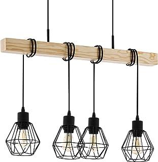 EGLO Lustre Townshend 5, Suspension Vintage à 4 Flammes Au design Industriel, Lampe Suspendue Rétro en Acier et enBois, Co...