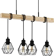 Eglo Townshend 5 Pendant Lamp 4 Bulb Vintage Pendant Light in Industrial Design Retro Pendant Lamp Made of Steel and Wood ...