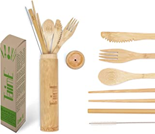 Bamboo Travel Cutlery Set   Reusable travel flatware set with case   Camping Utensils   Bamboo Flatware Set   Kid Utensil Set   Eco-Friendly Fork Spoon Knife Straw Set by Taime