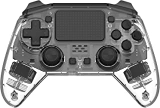 Clear Transparent Rapid Fire Wireless PS4 Game Controller,6-Axis Motion Sensor Dual Vibration Gamepad for Play Station 4 B...