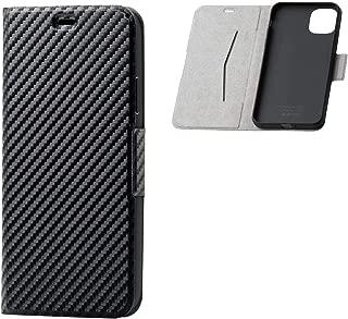 エレコム iPhone 11 Pro Max ケース ULTRA SLIM ソフトレザー [驚くほど薄くて軽い] マグネット付き スタンド機能 カーボン調(ブラック) PM-A19DPLFUCB