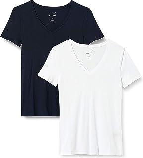 MERAKI Damen T-Shirt mit V-Ausschnitt, 2er-Pack