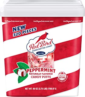 Red Bird Soft Peppermint Candy Puffs 60 oz Tub w/Handle | 320 pieces | Gluten Free | Kosher | Free from Top 8 Allergens | Made with 100% Pure Cane Sugar | Individually Wrapped Candy