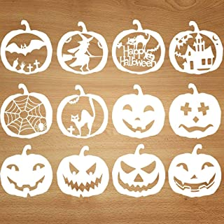 Mocoosy Halloween Stencils Template - DIY Pumpkins Stencils Set Kids Plastic Painting Drawing Stencils for Crafts Spraying Wall Door Window Glass Wood Cards and More 12 Pack