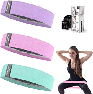 Whatafit Booty Workout Bands, Non Slip Resistance Bands for Legs and Hip, Fabric Hip Resistance Exercise Bands Set with 3 ...