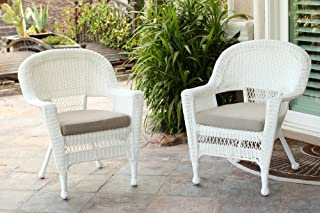Jeco Wicker Chair with Tan Cushion, Set of 2, White/W00206-