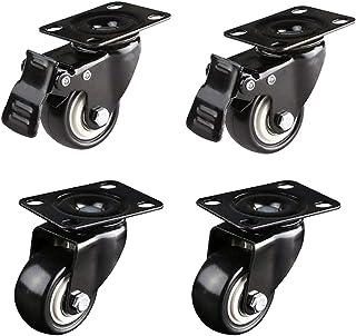 Barm 4-delige meubelwielen wielen polyurethaan wielen (2 met remmen en 2 zonder) met 360 graden bovenplaat Industriële pla...