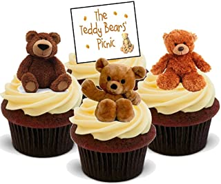 Cute Teddy Bears Picnic Mix - Fun Novelty Birthday PREMIUM STAND UP Edible Wafer Card Cake Toppers Decoration