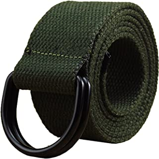 """Maikun Mens & Womens Canvas Belt with Black D-ring 1 1/2"""" Wide Extra Long Solid Color"""