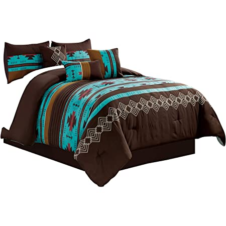 Cal King Size Bedding Comforter Set Southwestern Rustic Country Blue Brown 7Pc