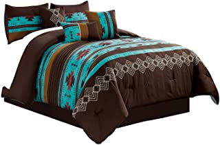 WPM WORLD PRODUCTS MART 7 Piece Western Southwestern Native American Design Comforter Set Multicolor Teal/Coffee Brown Emb...