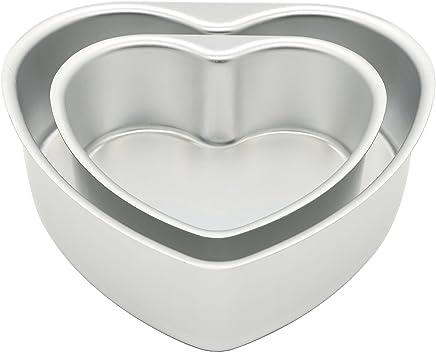LepoHome 2 pcs Aluminum Heart Shaped Cake Pan Set DIY Baking Mold Tool with Removable Bottom
