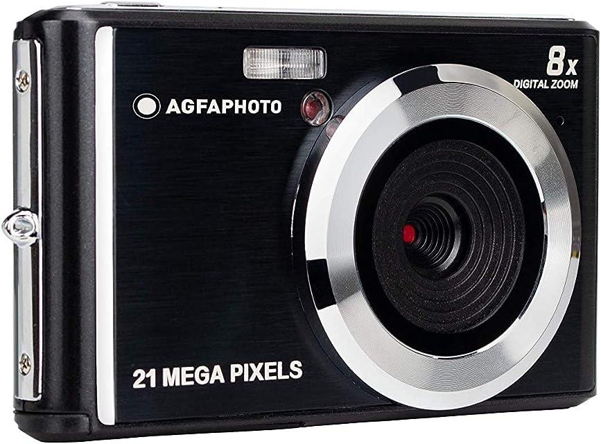 AgfaPhoto DC5200-BK: Cámara Digital Compacta con Sensor CMOS de 21 Megapíxeles Zoom Digital de 8X y Pantalla LCD Negra
