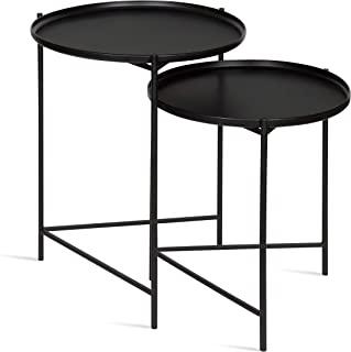 Kate and Laurel Ulani Set of 2 Nested Round Metal End Tables, Black