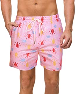 COOFANDY Men's Swim Trunks Quick Dry Beach Floral Shorts with Mesh Liner