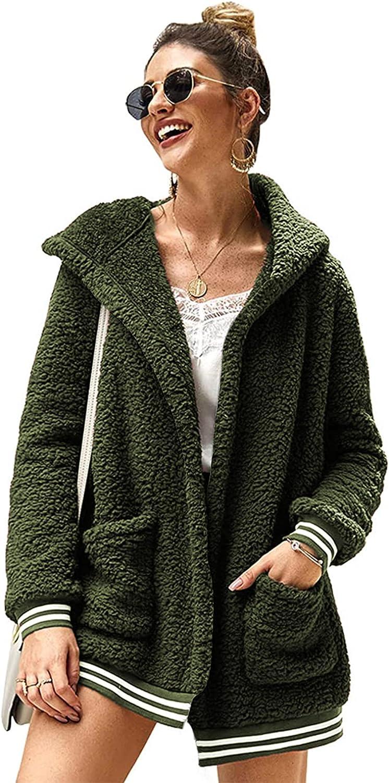 Chigant Womens Fleece Hooded Coat Winter Oversized Teddy Sherpa Jacket Fluffy Casual Cardigan Outwear with Pockets