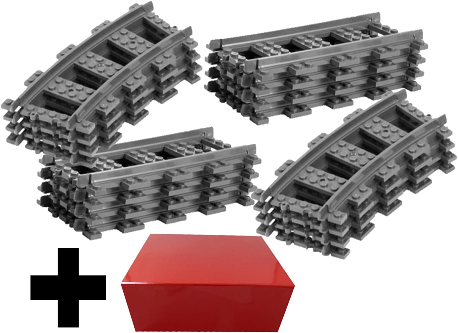 8x Straight Track + 8x Curved Tracks Lego Straight and Curve Straight Rails Track (City RC Train Straight Track   Lego Curved Track)