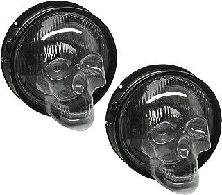 Dheera 1/2 peças de capa de farol de caveira universal feita à mão, capa de lâmpada de caveira retrô para farol de motocic...