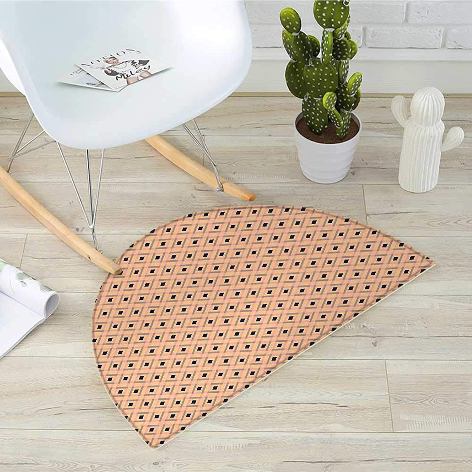 Argyle Semicircular CushionDiagonal Stripes and Rhombuses Geometric Composition Pastel colors Entry Door Mat H 19.7  xD 31.5  Peach Navy bluee Pale Pink
