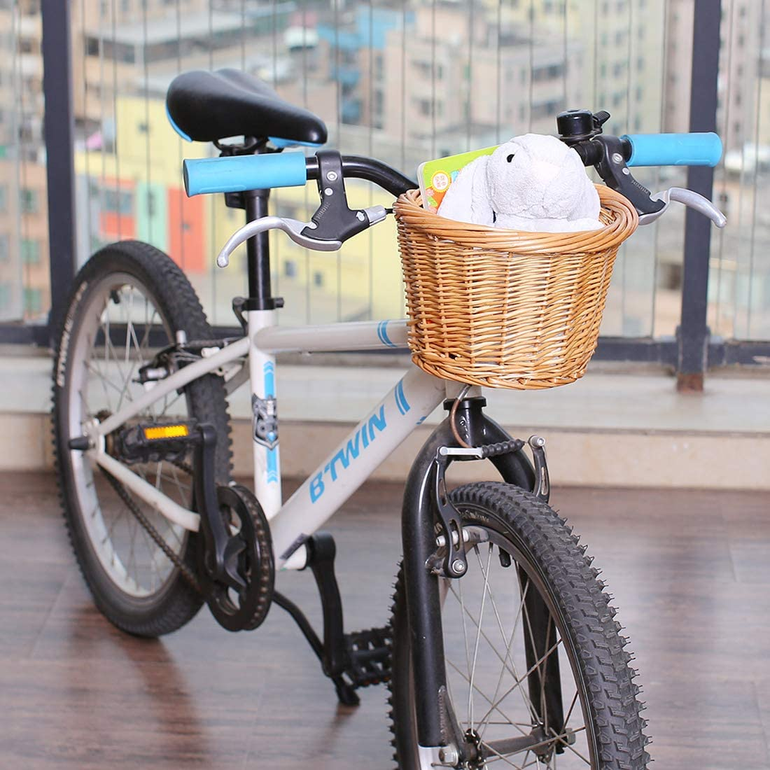 Height 6.25 inch. Front Handlebar Basket for Bike syiniix Small D Shape Wicker Bicycle Basket