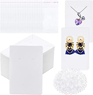 White Earring Cards, Anezus 400 Pcs Earring Packaging Supplies Kit with Earring Display Holder Cards Self-Sealing Bags Ear...