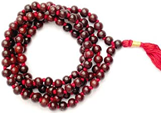 IndianStore4All Rosewood Red Sandalwood 8mm Handmade 108+1 Beads Prayer Japa Mala Necklace Free Mala Pouch