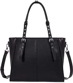 BOSTANTEN Women Leather Briefcase 15.6 inch Laptop Tote Bag Top-Handle Shoulder Handbag Cross-Body Work Tote Purses Black