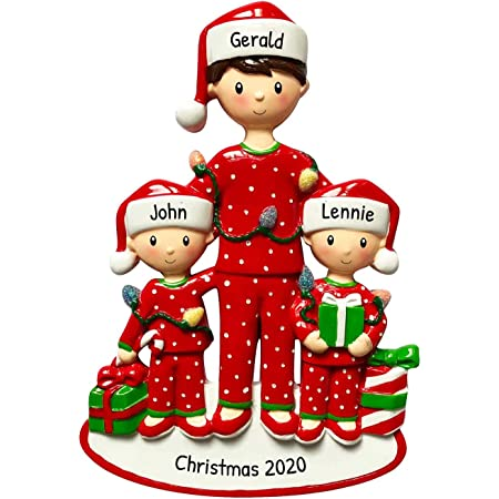 Amazon Com Personalized Single Mom With 1 Child Christmas Tree Ornament 2020 Cute Pjs Mother Hug Kid Cozy Santa Hat Home Holiday Foster Appreciate Engraved Tradition Day Year Gift Free Customization