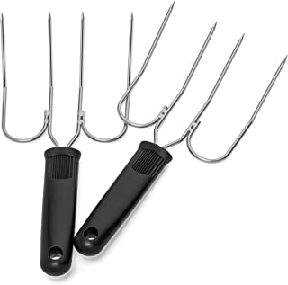 Turkey Lifter Forks - Set of 2 Stainless Steel Turkey Lifters - Will Not Bend or Break - Slip Resistant Grip - Doubles as Thanksgiving Carving Fork
