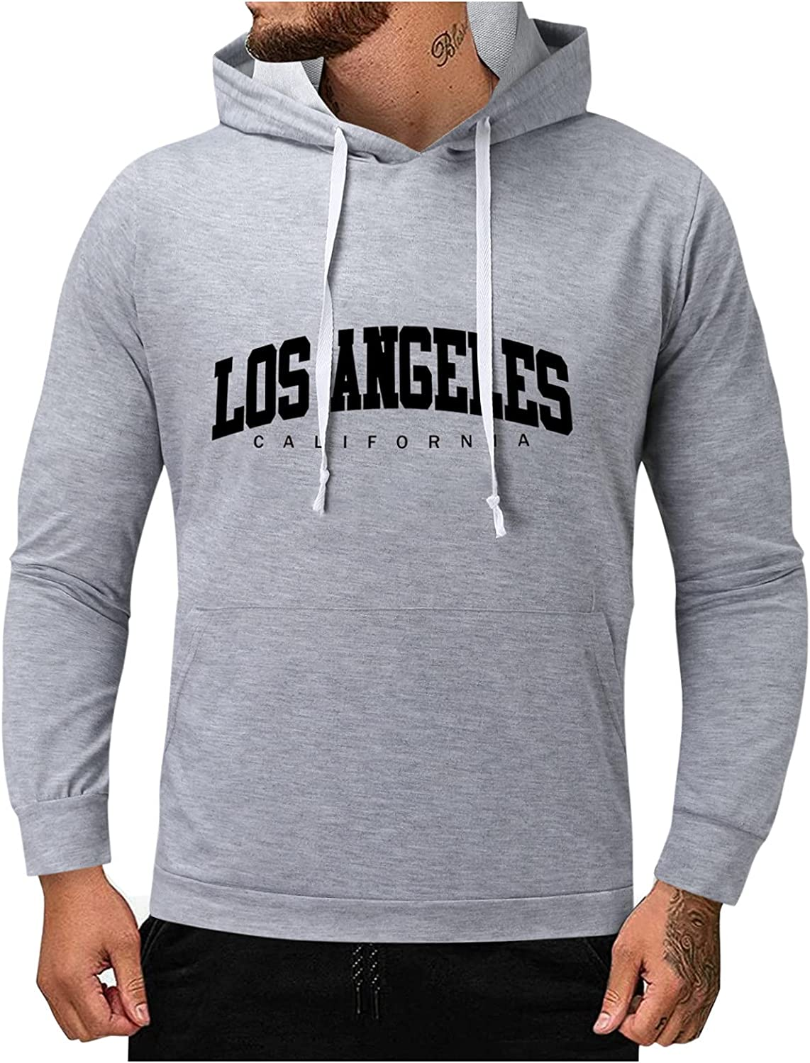 HONGJ Hoodies for Mens, Alpha Letter Print Hooded Sweatshirt Simple Sports Fashion Casual Basic Pullover with Pocket