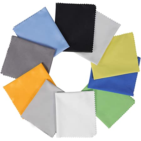 "10 Pack Assorted Colors Microfiber Cleaning Cloths - 6"" x 7"" Microfiber Glasses Cloth - Great for Cleaning Eyeglasses, Cell Phones, Screens, Lenses, Glasses, Screens, and All Delicate Surface"