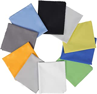 """10 Pack Assorted Colors Microfiber Cleaning Cloths - 6"""" x 7"""" Microfiber Glasses Cloth - Great for Cleaning Eyeglasses, Cel..."""