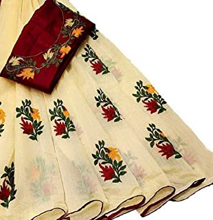 Any Designer Women's Off white Embroidered Saree With Blouse