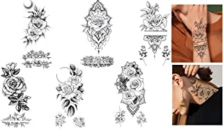 Rosen Tattoos Blumen Tattoos 6 Bögen Set Fake Tattoos Flowe