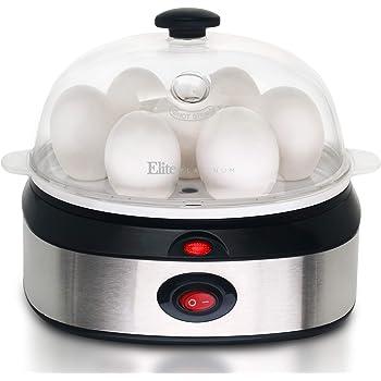 Elite Cuisine EGC-207 Egg Poacher, Omelet, Steamer & Soft, Medium, Hard-Boiled Egg Cooker with Auto-Shut Off, 7 Egg Capacity, Stainless Steel