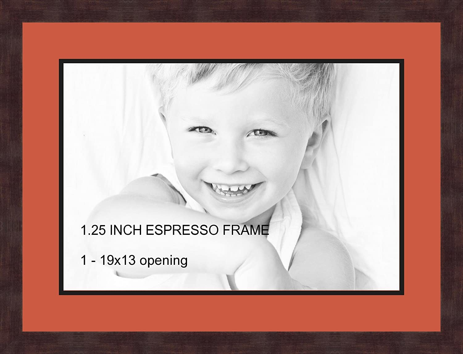 Art to Frames Double-Multimat-730-693 89-FRBW26061 Collage Frame Photo Mat Double Mat with 1-13x19 Openings and Espresso Frame