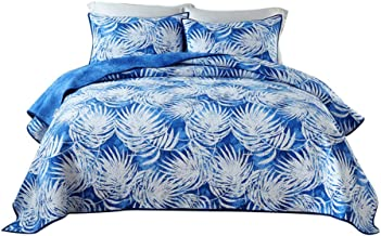 3 Piece Bedspread with Pillow Shams, Summer Cotton Quilted Quilt, Coverlet for All Season, Throw for Home Decor A