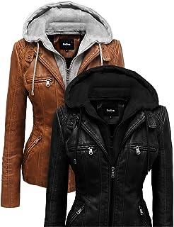 Hoffen Women's Motorcycle Biker Vegan Leather Jacket with Detachable Hood - Seitig Model