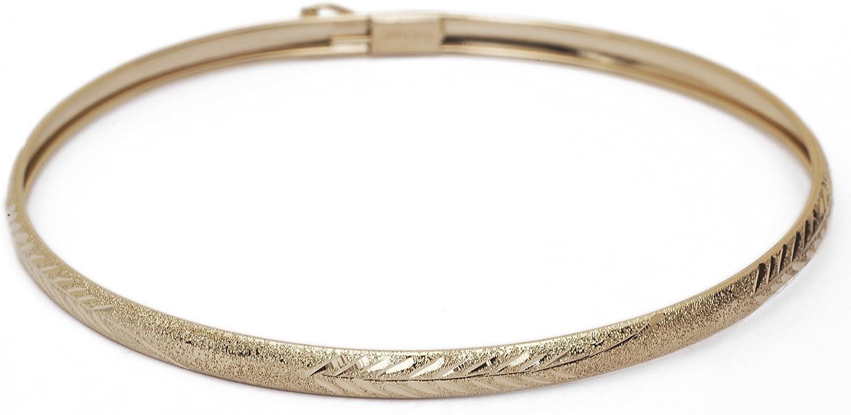 Floreo 10k Yellow Gold 4mm Bangle Bracelet Flexible Round with Diamond Cut Design