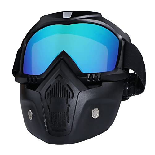 aed6a9900cd Harley Motorcycle Helmet Goggles Tongshop Motocross Goggles Face Mask with  Removable Detachable Goggles and Anti-