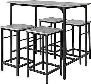 SoBuy® OGT11-HG Set de 1 Table + 4 Tabourets Ensemble Table de Bar bistrot + 4 tabourets avec Repose-Pieds Table Mange-Deb...