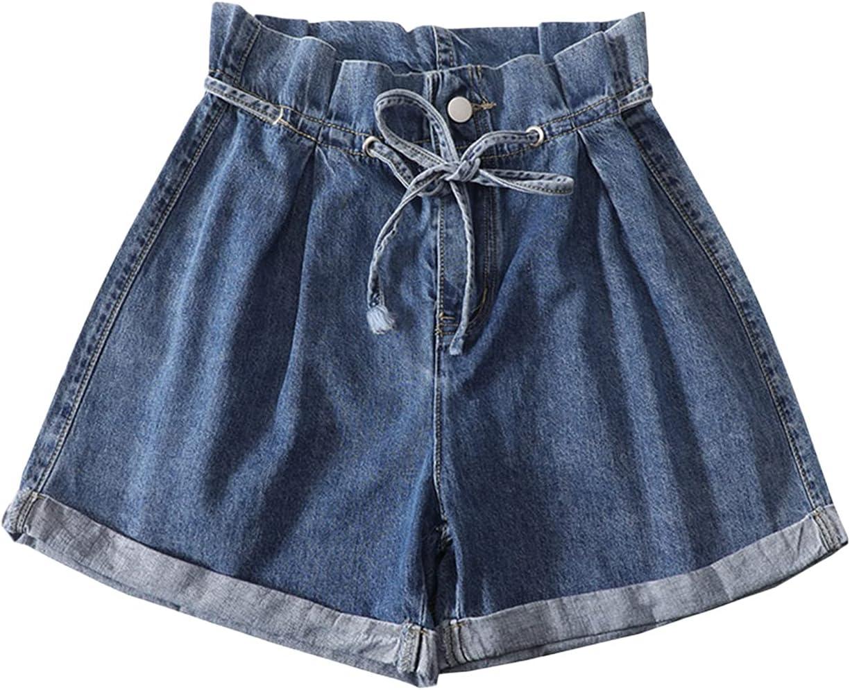 Women Cuffed Drawstring Denim Shorts High Waisted Elastic Waist Jean Shorts Soft Comfy Paper Bag Folded Short Jeans (Navy Blue,X-Large)