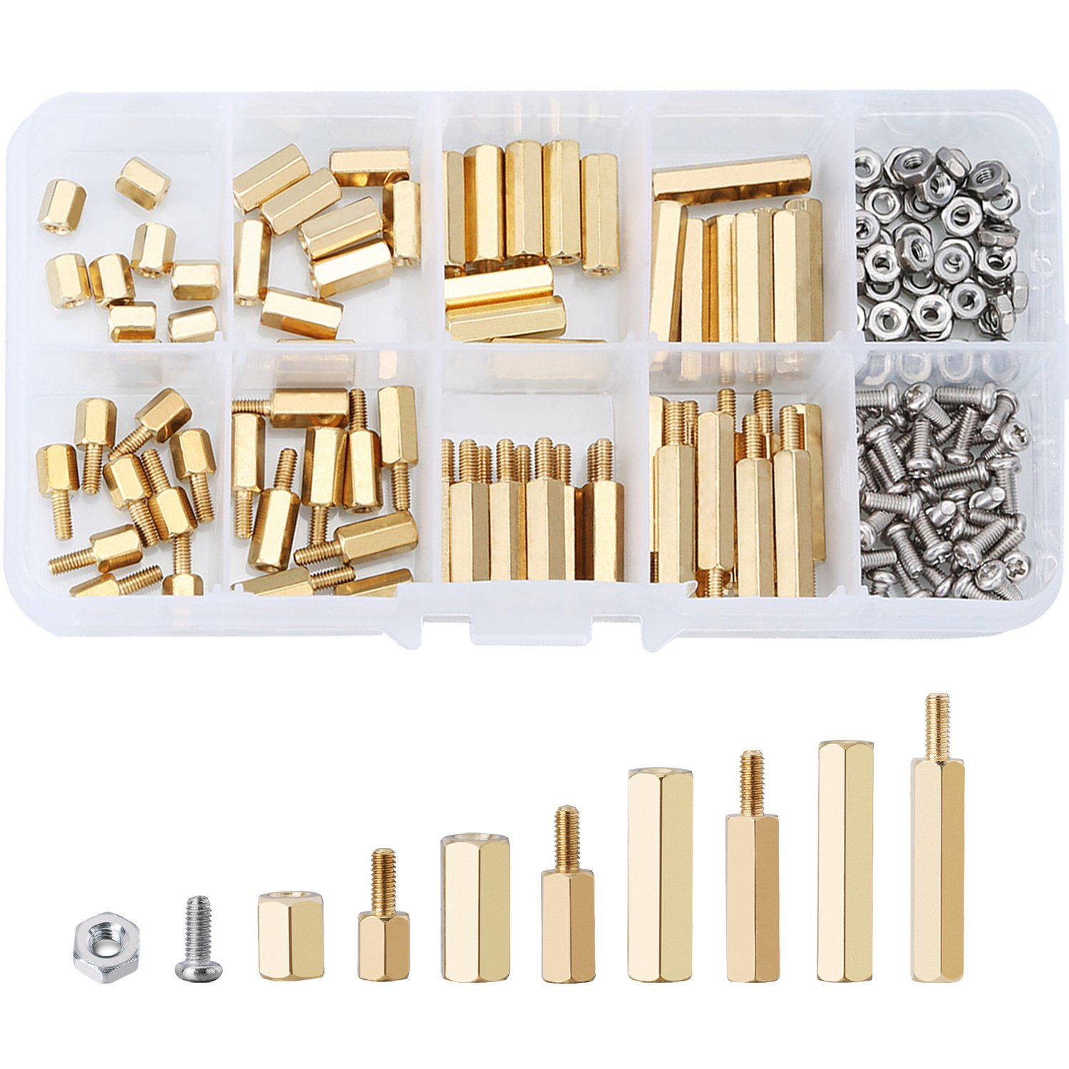 Details about  /750Pcs Brass Studs Pillars Standoff Spacers Screw Isolation Spacing Screws Kit