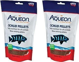 Aqueon 2 Pack Cichlid Food Mini Pellets, 8.5 Ounces Per Pack